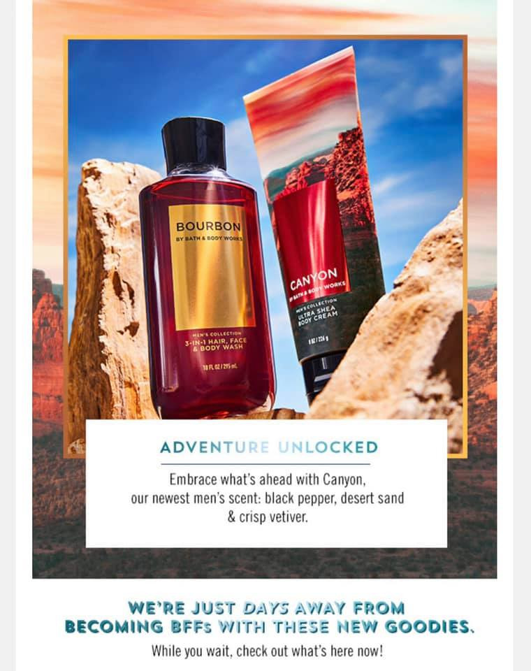 Bath and Body Works Men's New Canyon Body Care Collection