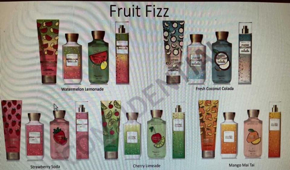 Bath & Body Works New Fruit Fizz Body Care Collection SAS 2021